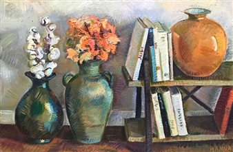 """Still Life with Book Shelf Oil on Canvas 24"""" x 36"""""""