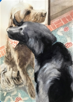 """Doggy Love Watercolor on Paper 20"""" x 14"""""""