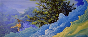 """Above the Tallest Tree Acrylic on Canvas 20"""" x 46"""""""