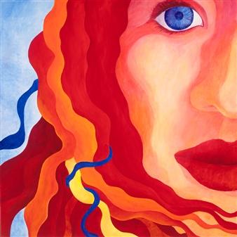 """Blue Eyed Girl Acrylic on Canvas 36"""" x 36"""""""