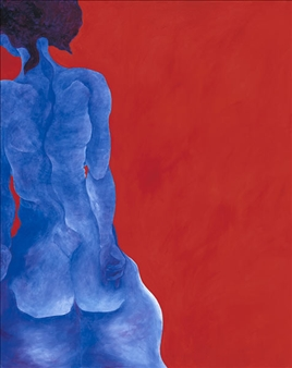 """Blue Lady in Red Room 2 Acrylic on Canvas 60"""" x 48"""""""