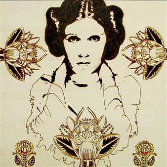 """Carrie Fisher Pyrography 31"""" x 30.5"""""""