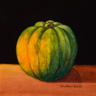"""Still Life with Squash Mixed Media on Canvas 6"""" x 6"""""""