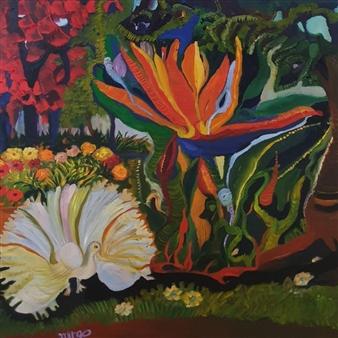 "Bird of Paradise Oil on Canvas 31.5"" x 31.5"""