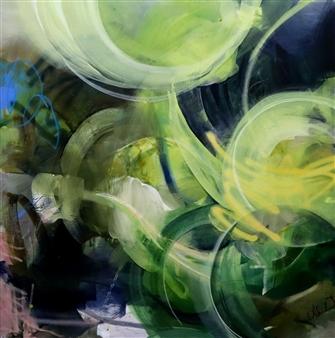 "Rise Regardless Acrylic, Spray Paint, Oil Pastel on Canvas 48"" x 48"""