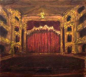 "Opera Philadelphia Oil & Pastel on Canvas 19.5"" x 22"""