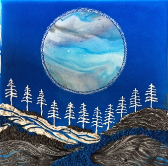 "Moon Over Spirit Forest Acrylic on Birch 12"" x 12"""
