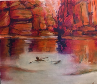 """Lone Swimmer at Python Pond Acrylic on Canvas 39"""" x 34"""""""