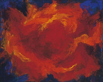 "Flaming Heart Acrylic on Canvas 22"" x 30"""