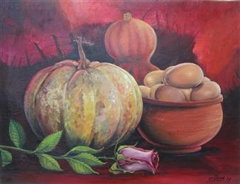 """Bodegón en Rojo Oil on Canvas 14"""" x 18"""""""