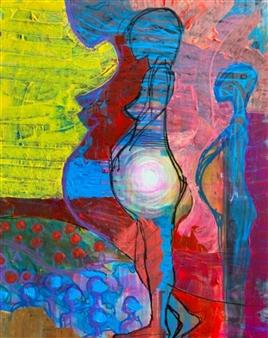 "MOTHERHOOD: Our Golden Journey Acrylic on Canvas 20"" x 16"""
