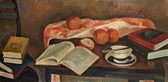 """Still Life with Books_2 Oil on Canvas 18"""" x 36"""""""