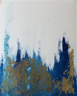 """Clad in Blue and Gold Acrylic on Canvas 12"""" x 8"""""""