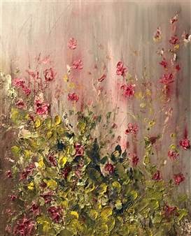 """Flowers on the Fence Oil on Canvas 20"""" x 16"""""""