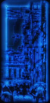 """The Woman Dressed in Dark and Blue City Archival Pigment Print 35.5"""" x 14"""""""