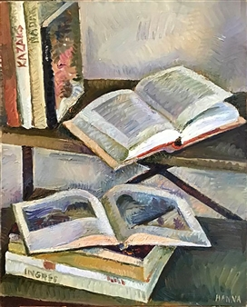 """Still Life with Books_3 Oil on Canvas 28"""" x 22"""""""