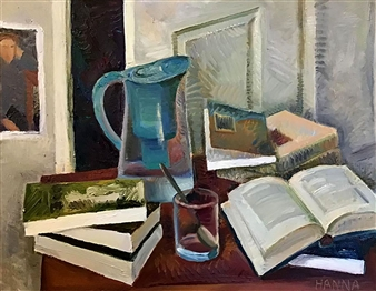 """Still Life with Books_4 Oil on Canvas 22"""" x 28"""""""