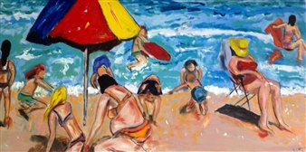 "Beach Playtime Oil on Canvas 24"" x 48"""