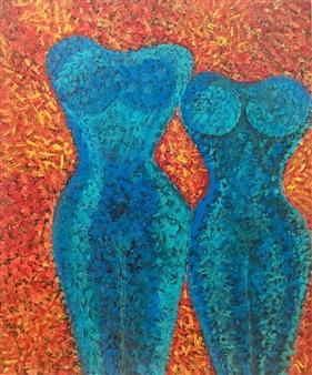 """Me & You Acrylic & Sand on Canvas 47.5"""" x 39.5"""""""