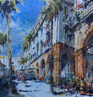 "Plaza Real, Barcelona Acrylic on Canvas 39.5"" x 35.5"""