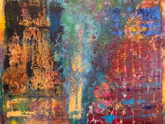 """Reverent Reflections Oil & Mixed Media on Canvas 18"""" x 24"""""""