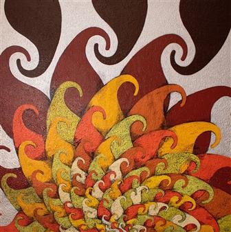 """Solar Flare Acrylic on Linen Canvas 36"""" x 36"""""""