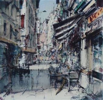"Boulevard Watercolor 25.5"" x 25.5"""