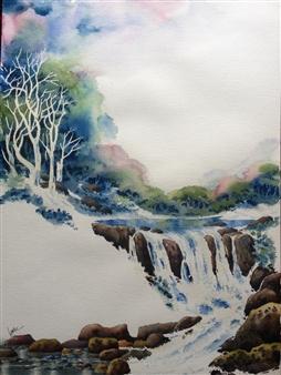 "Waterfalls Watercolor on Paper 24"" x 18"""
