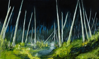 """Between the Pines Limited Edition Hand Painted Print 36"""" x 60"""""""