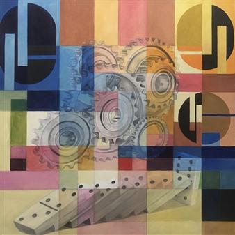 "Domino Acrylic on Canvas 39.5"" x 39.5"""