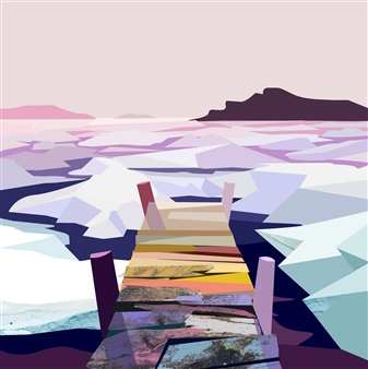 "Sea Ice on White Bay Digital Print on Paper 12"" x 12"""