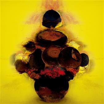 "Girasoles Negros Digital Work on Wood 31.5"" x 31.5"""