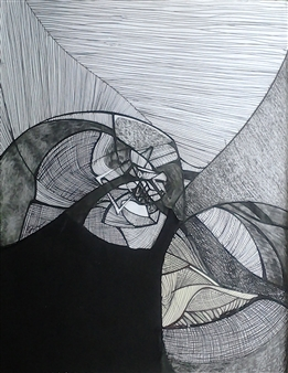 """Tulips Pen, Ink and Fabric 12"""" x 8"""""""