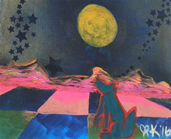 "Desert Dust-storm Acrylic & Oil Pastel on Canvas 9.5"" x 11.5"""