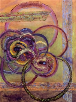 """Ethereal Rings Oil & Mixed Media on Canvas 48"""" x 36"""""""