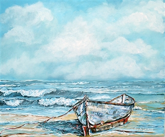 """Old Boat Waiting Acrylic on Canvas 18"""" x 24"""""""