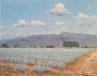 "Paisaje Agavero  (Agave Scenery) Acrylic on Canvas 16"" x 20"""
