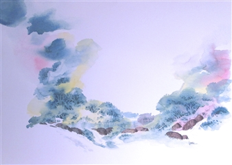 """Landscape -  p. 101 Watercolor on Paper 18"""" x 24"""""""
