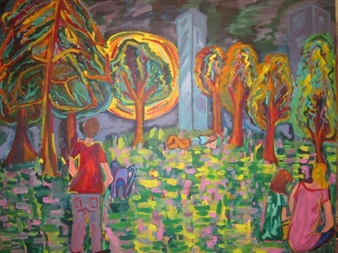 """En el Parque de Noche Acrylic on Canvas 27.5"""" x 35.5"""""""