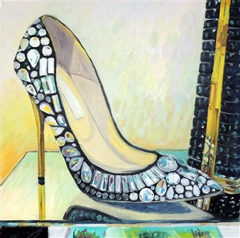 """Bejeweled Cinderella's Champs Elysee Oil on Canvas 25.5"""" x 25.5"""""""