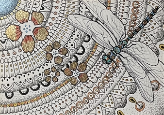 """Dragonfly and Mandala Ink & Gold Leaf on Paper 11"""" x 12"""""""