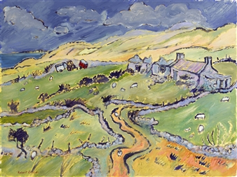 """Horn Head Cottage with Tractor and Trailers Oil on Canvas Panel 24"""" x 31.5"""""""