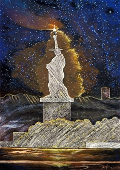 """The Landscape of 21C Lady Liberty_ For Whites and Blacks  (triptych) Hard Pastels with Multi-media 44"""" x 31.5"""""""