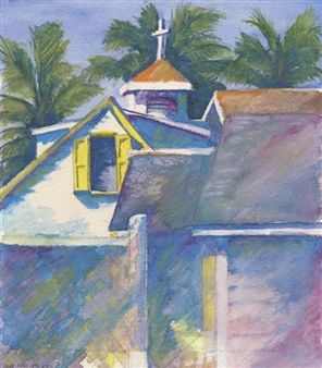 """Hopetown, Bahamas Watercolor and Pen on Paper 12"""" x 10"""""""