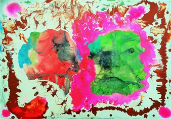 """Überwinder Acrylic on Wood Panel 16.5"""" x 23.5"""""""