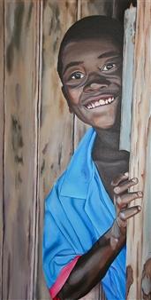 """African Joie de Vivre Acrylic on Canvas 39.5"""" x 19.5"""""""