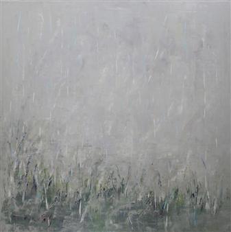 """Spring Rain Oil on Linen 30"""" x 30"""""""