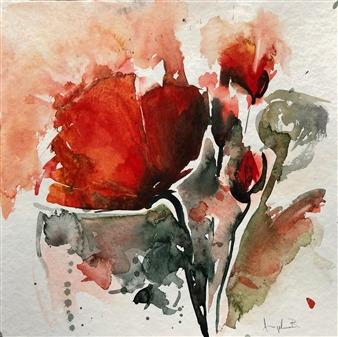"Poppy Flowers 3 Watercolor on Paper 12"" x 12"""