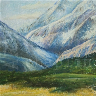 "Mt. Cook Pastel on Paper 23"" x 23"""