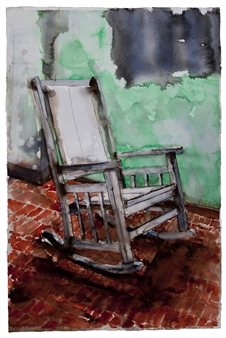 """Habana Chair Watercolor on Paper 45"""" x 29.5"""""""
